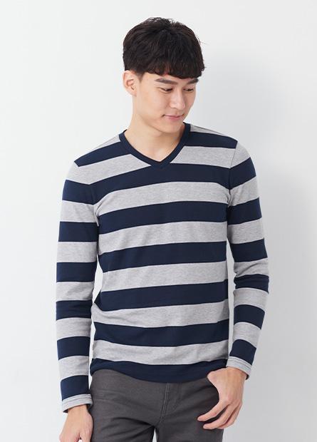 吸濕保暖V領條紋長袖T恤