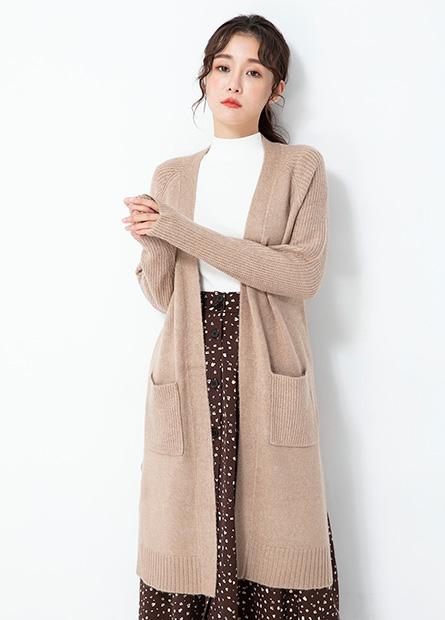 披掛式開衩長版針織外套