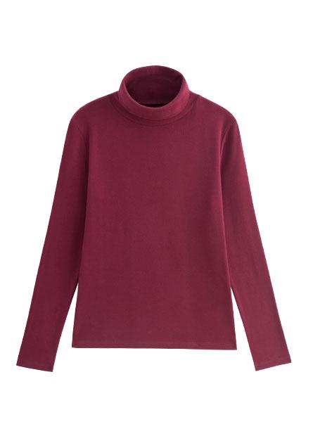 素色吸濕保暖高領長袖T恤