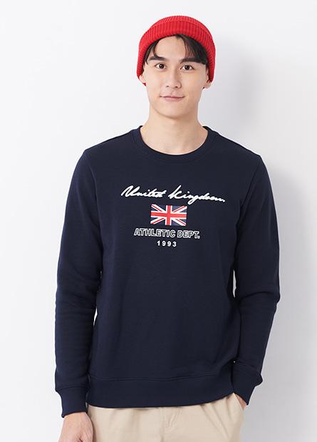 英國國旗內刷毛大學T