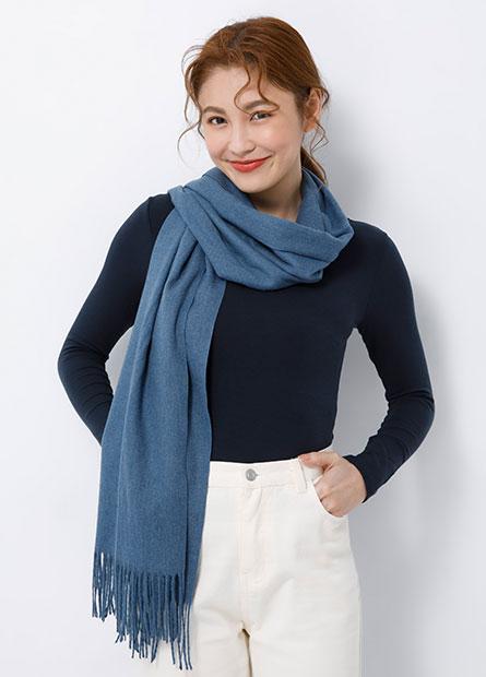 舒適素色流蘇圍巾