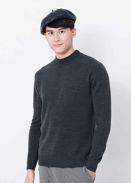 基本細針織立領毛衣
