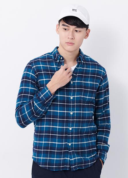 Slim Fit釘釦領法蘭絨襯衫