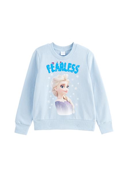 女童Elsa印花內刷毛大學T