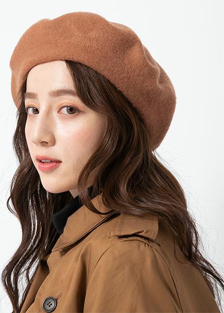 素色羊毛貝蕾帽