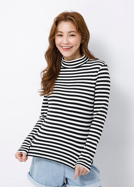 純棉小高領條紋長袖T恤