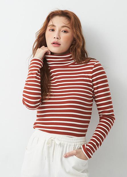 日系純棉翻領條紋長袖T恤