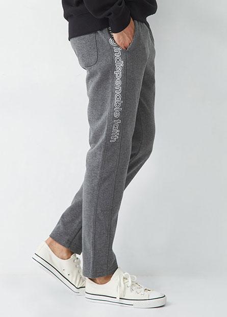 勵志標語刷毛棉褲