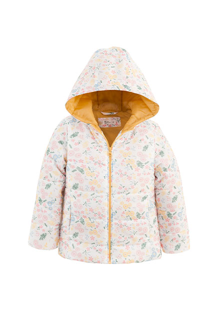 女童森林圖樣鋪棉連帽外套