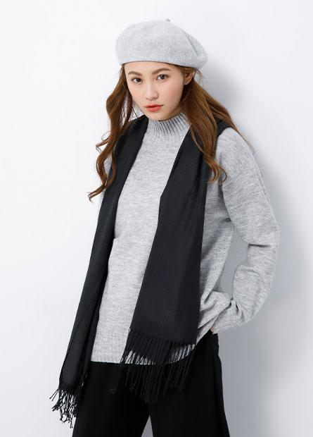 薄款單色抽鬚圍巾