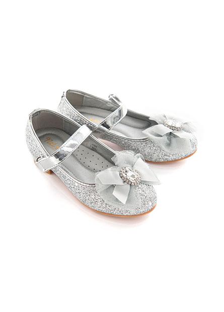 女童金蔥寶石蝴蝶結低跟鞋