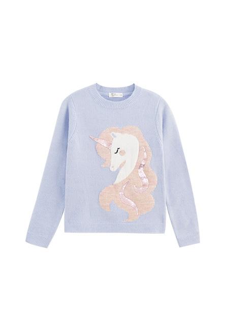 女童金蔥亮片獨角獸毛衣
