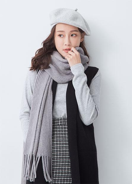 素色編織流蘇圍巾