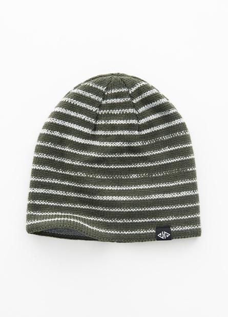 雙面條紋毛線帽