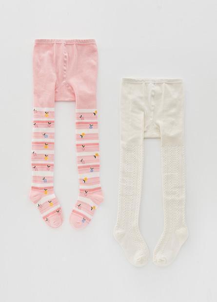 童針織提花褲襪(二入)