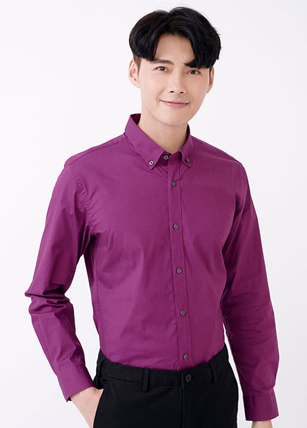 Slim Fit釘釦彈性修身長袖襯衫