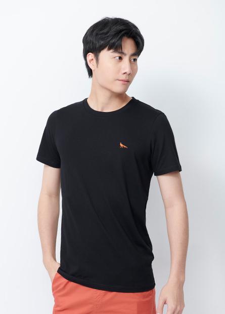 素色小鳥刺繡圓領T恤