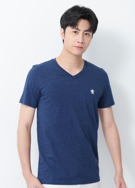 素色V領獅子刺繡T恤