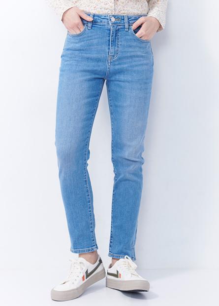 高腰緊身窄管牛仔褲
