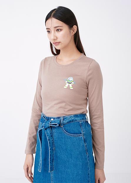 左胸迪士尼角色印花長袖T恤