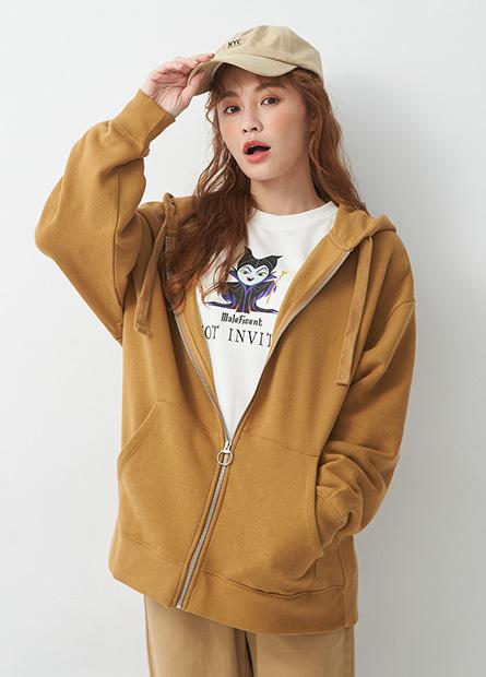 素色寬鬆內刷毛連帽夾克