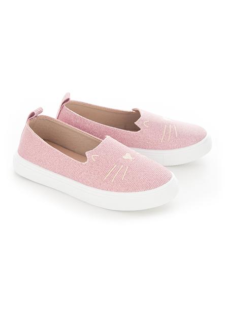 女童貓咪刺繡懶人鞋