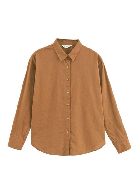 素面棉麻長袖襯衫