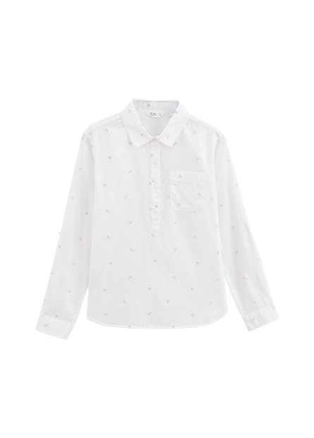 棉質襯衫領口袋上衣