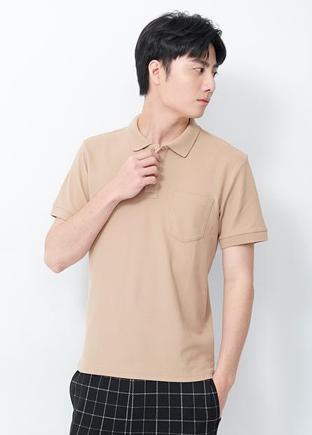 素面口袋短袖POLO衫