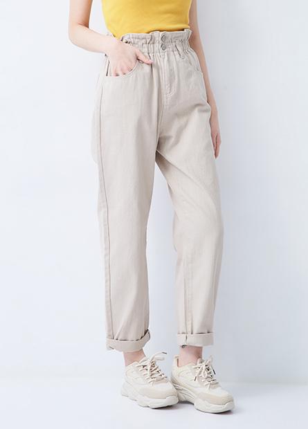 花苞鬆緊錐形牛仔褲