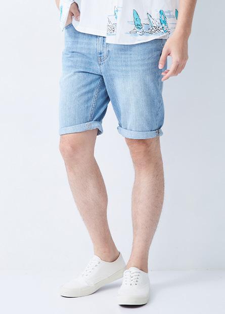 Slim Fit修身反摺牛仔短褲