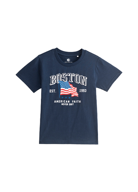 男童美國國旗印花T恤