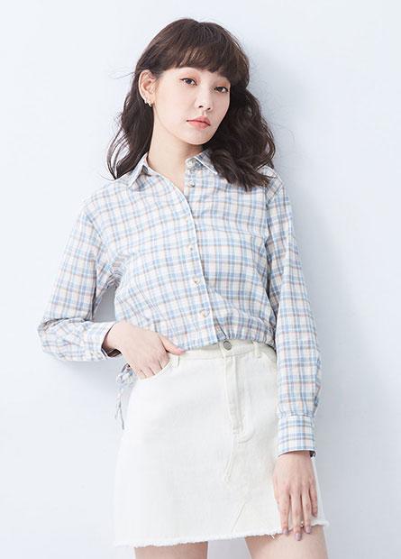 側綁帶短版長袖襯衫