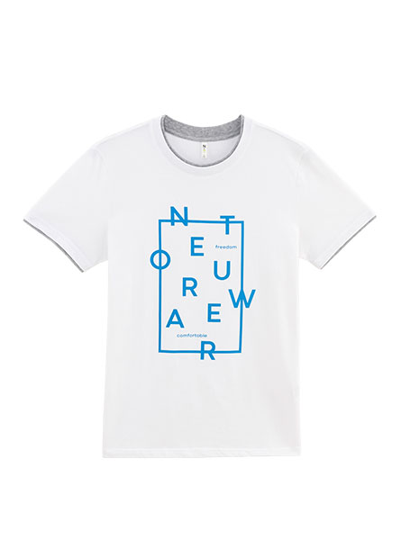 方塊NET印字雙層領T恤