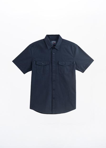 標準領雙口袋短袖襯衫