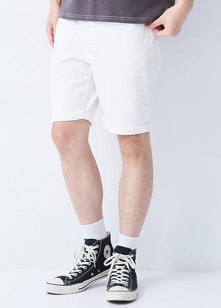 多色修身反摺牛仔短褲