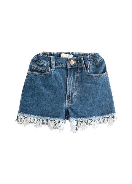 女童小開衩牛仔短褲