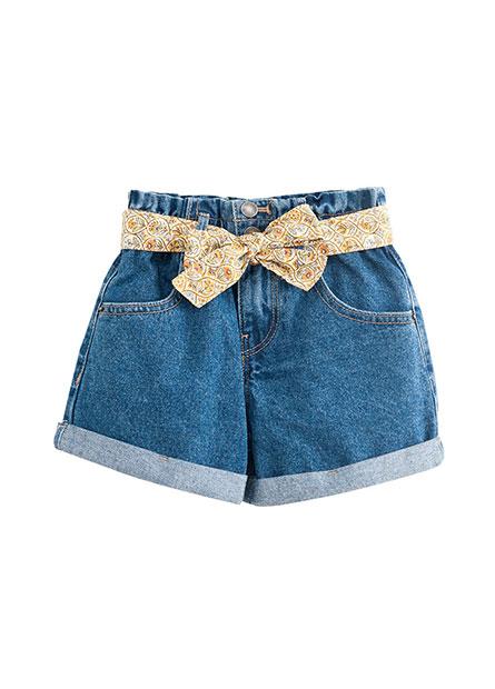 女童高腰花苞牛仔短褲