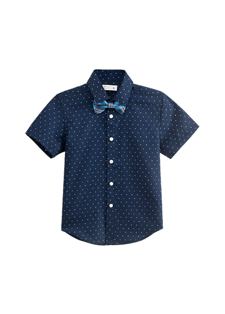 男童標準領短袖襯衫(附領結)