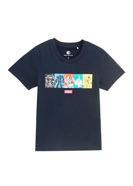 男童五格機器人印花T恤