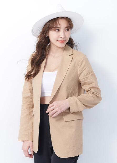 棉麻西裝外套