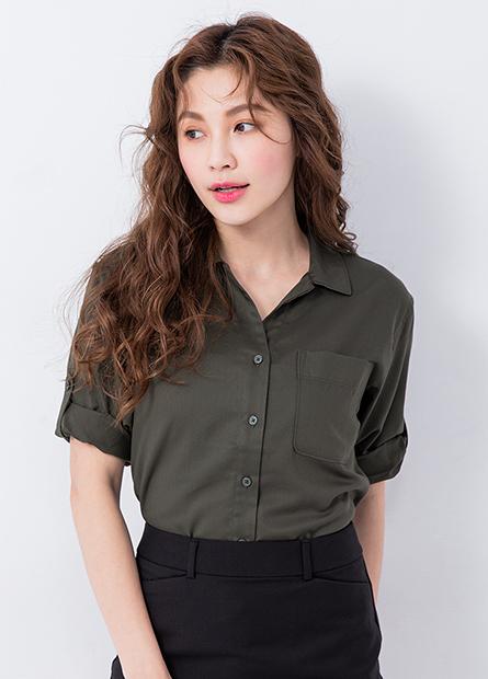 V領單口袋襯衫