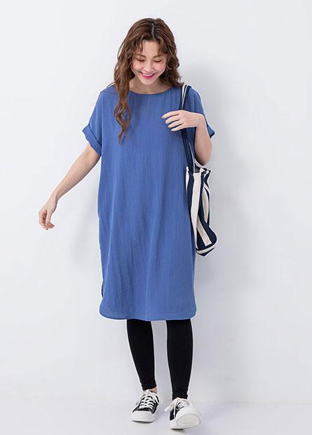 反摺袖綁帶洋裝