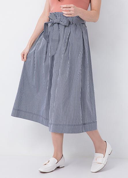 高腰綁帶打褶中長裙