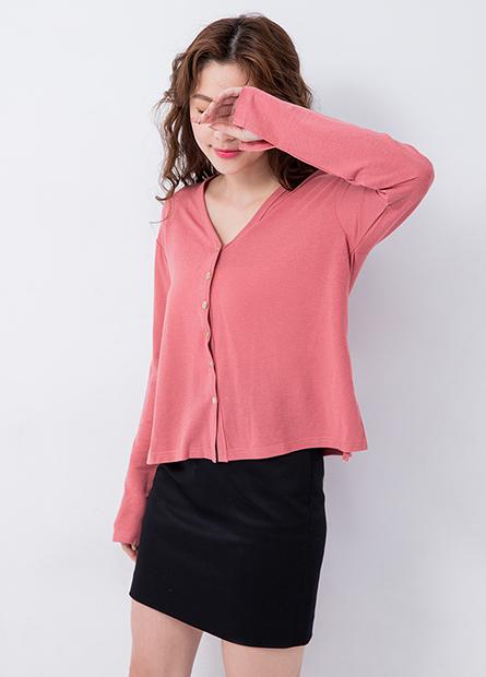 素色棉質V領開襟外套