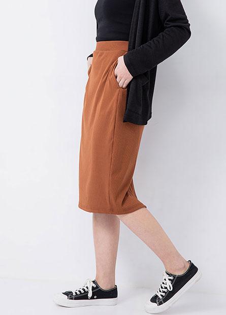彈性坑條合身長裙