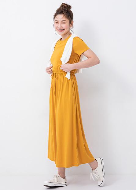 圓領腰綁帶洋裝