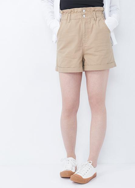 高腰花苞反摺短褲