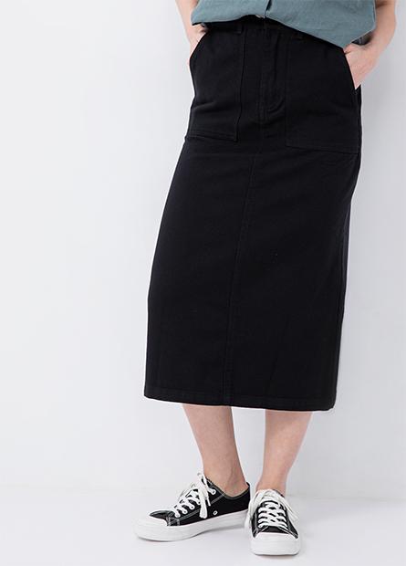 斜紋後鬆緊開衩窄裙