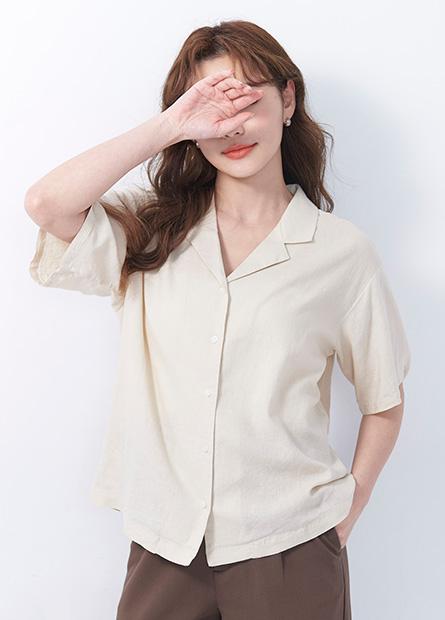國民領麻料短袖襯衫